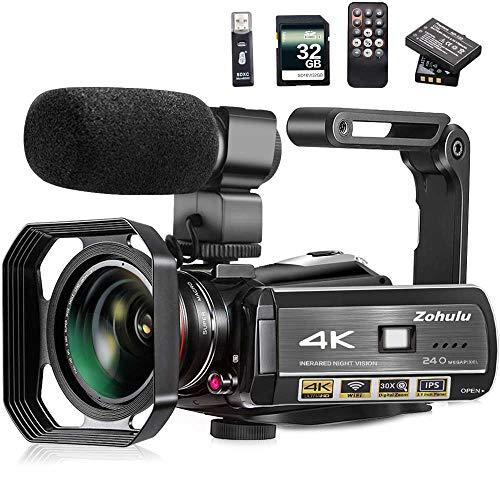Video Camera, Zohulu 4K Camcorder WiFi...