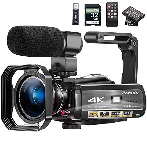 Video Camera 4K Camcorder ZOHULU Vlog...